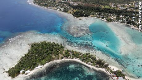 An aerial view of Erakor island and the coastline of Port Vila on in Vanuatu.