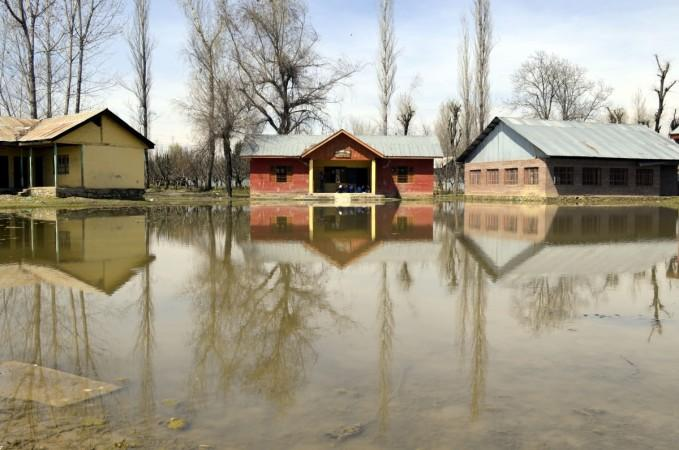 A view of waterlogged primary school in Lalad of Jammu and Kashmir's Sopore on March 23, 2015