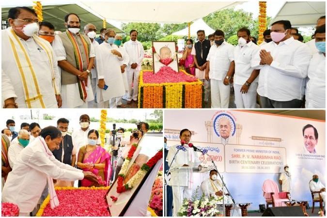 K Chandrashekar Rao paying tributes to former PM Late PV Narasimha Rao on Sunday