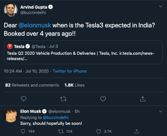 Elon Musk on Tesla 3 launch in India
