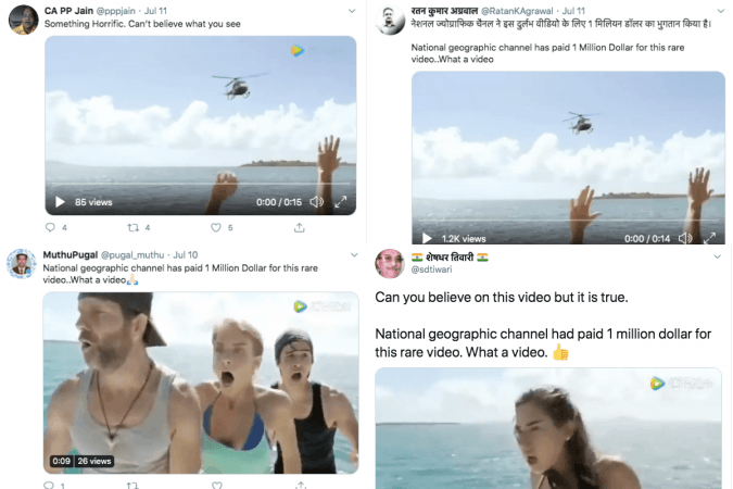 Tweets on shark attacking helicopter