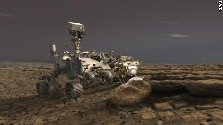 A rendering of NASA's Perseverance rover on Mars. The probe is due to arrive at the red planet in February 2021.