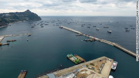 Chinese ships are seen sheltering from bad weather in Sadong port on Ulleung island in South Korea on November 11, 2017.