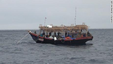 A North Korean squid boat in operation in the Russian waters is seen sometime between between August and October 2018.