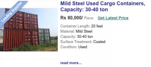 indiamart container price