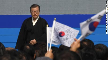 """""""Cruel treatment and abuse on athletes are legacies from old times that cannot be justified with any word,"""" said President Moon Jae-in."""