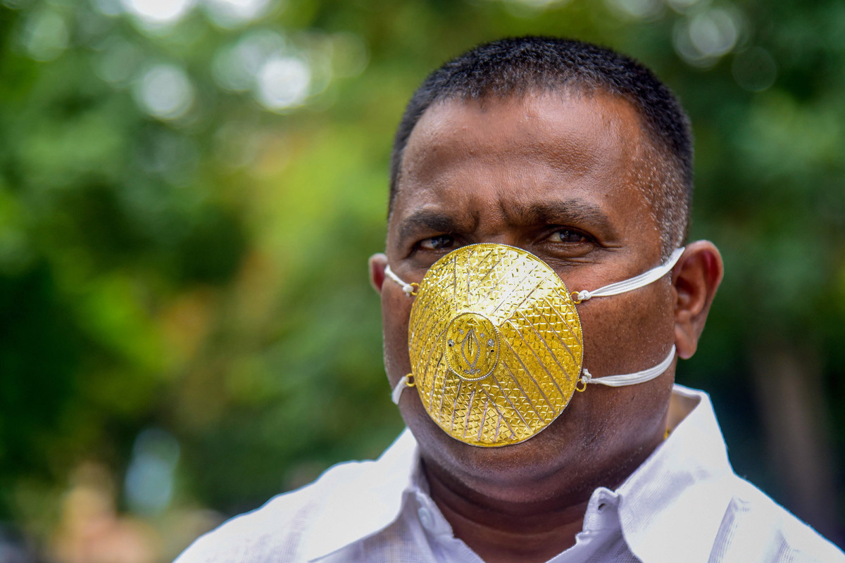 Indian man wears $4,000 gold face mask during coronavirus pandemic