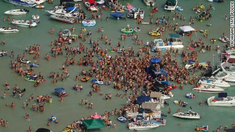 Hundreds gathered at Torch Lake, in the northwest corner Michigan's Lower Peninsula, over the July 4 weekend.