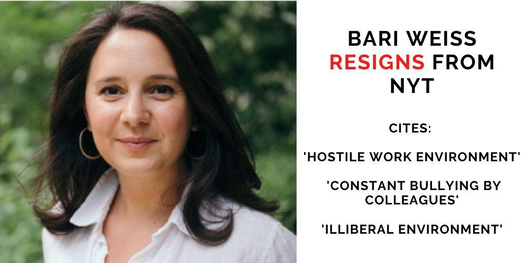 Bari Weiss resigns from NYT; full text of resignation, reactions