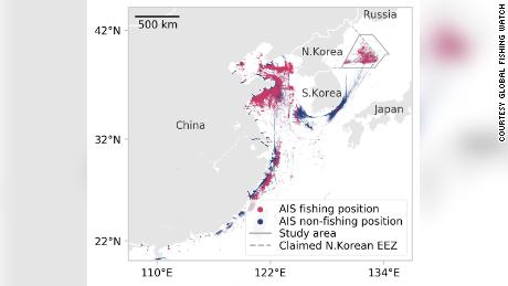 This graphic from Global Fishing Watch shows the location broadcast by all vessels identified as likely fishing ships sailing within North Korea's claimed exclusive economic zone during 2017 and 2018.