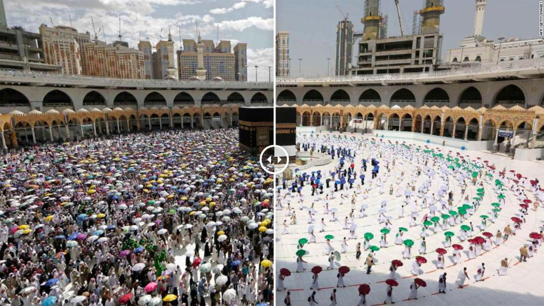 Striking photos show socially-distanced Hajj