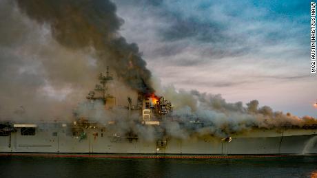 A fire burns aboard the USS Bonhomme Richard in San Diego on July 12, 2020.