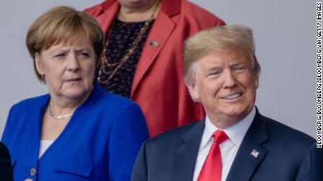 Angela Merkel, Germany's chancellor, and US President Donald Trump in 2018.