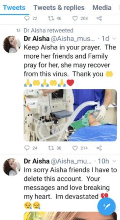 Dr Aisha tweets