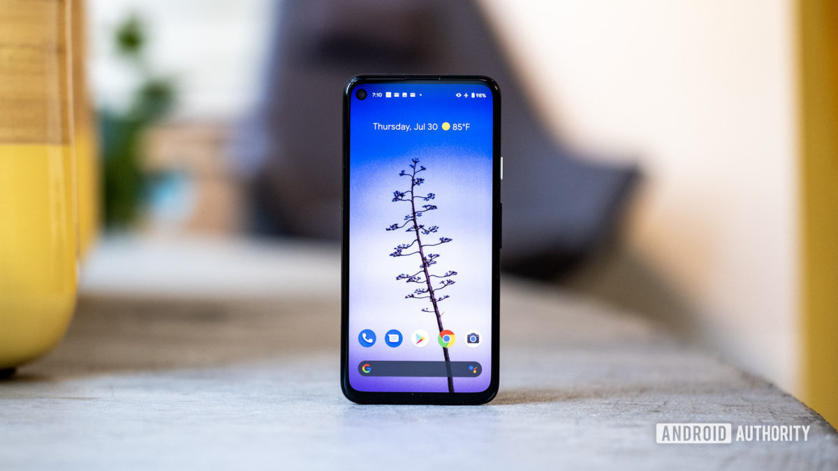 Google Pixel 4a front standing straight