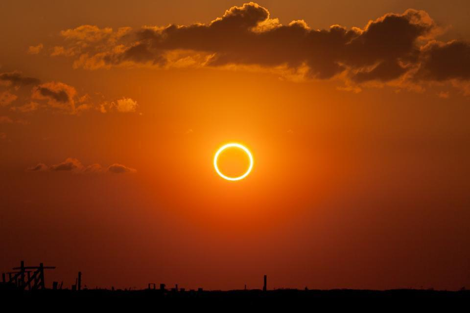 Annular solar eclipse exhibiting the classic ring of fire effect.