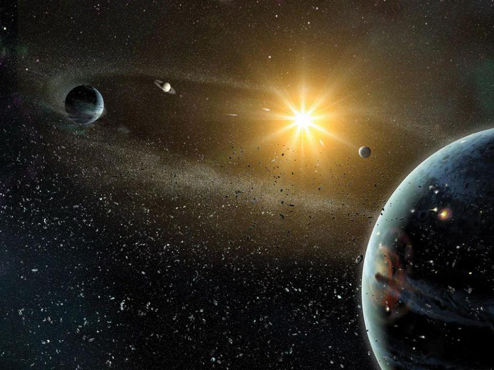 The formation of the solar system in its early stages, leading to its present state.