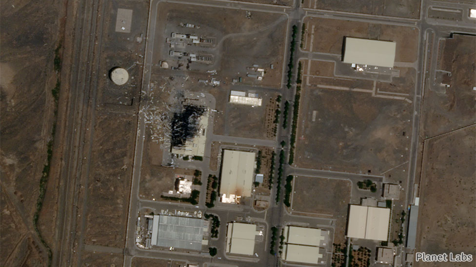 Satellite image showing the nuclear facility in Natanz, Iran, 5 July 2020. Image by Planet Labs Inc