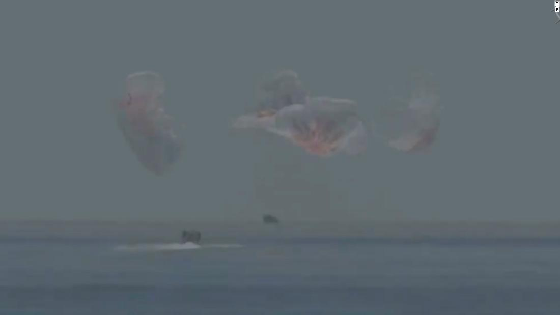 NASA Astronauts splashdown after historic SpaceX mission