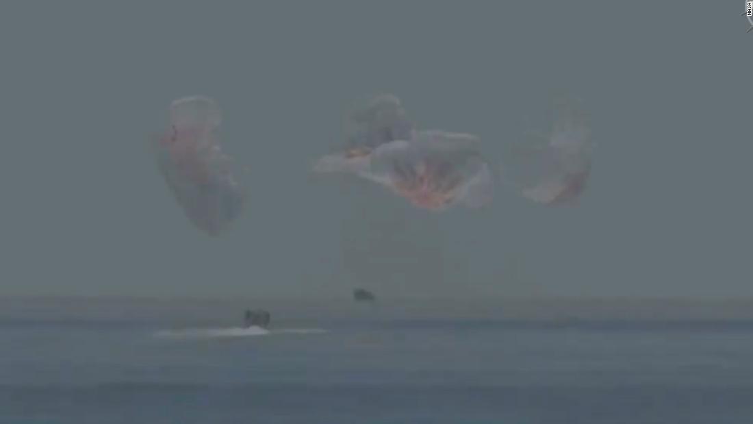 NASA Astronauts splashdown after historic SpaceX mission