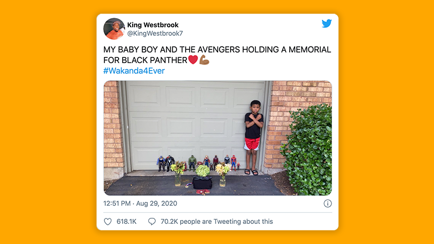 My baby boy and the Avengers holding a memorial for Black Panther. #Wakanda4ever