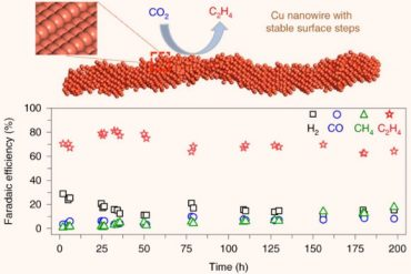 Copper represents an effective catalyst in reducing carbon dioxide to hydrocarbons or oxygenates, but it is often plagued by a low product selectivity and limited long-term stability. Choi et al report that copper nanowires with rich surface steps exhibit a remarkably high Faradaic efficiency for ethylene that can be maintained for over 200hours. Image credit: Choi et al, doi: 10.1038/s41929-020-00504-x.