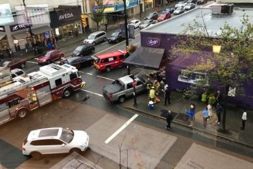 Pedestrian struck, thrown through Vancouver shop window by motorist