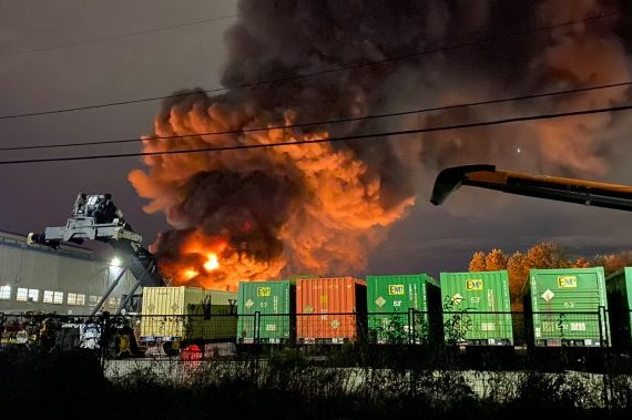 Massive blaze erupts at plastics recycling facility in New West's Queensborough area Monday - BC