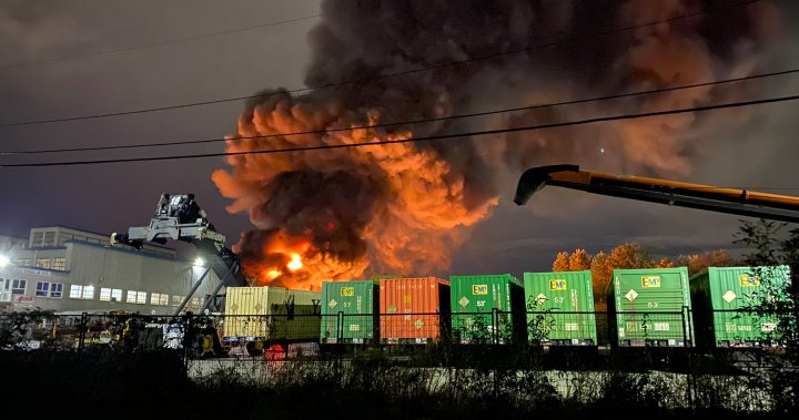 Massive blaze erupts at plastics recycling facility in New West's Queensborough area Monday - BC