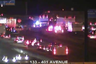 25-year-old man fatally hit by a transport truck on Highway 401 in North York
