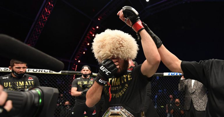 Khabib Nurmagomedov announces his retirement following emotional victory over Justin Gaethje in UFC 254 main event