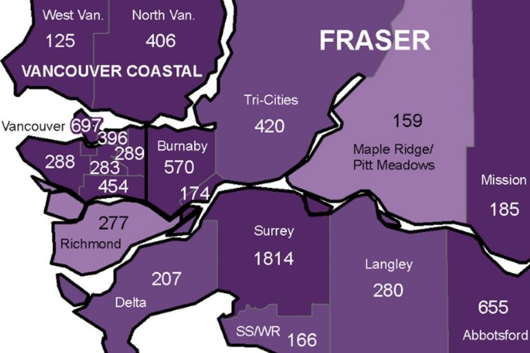 Surrey appears to have the most COVID-19 cases of all Greater Vancouver health regions (MAP)