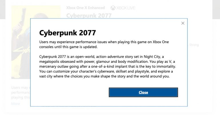 Cyberpunk 2077's Microsoft store listing now has a warning for bugs