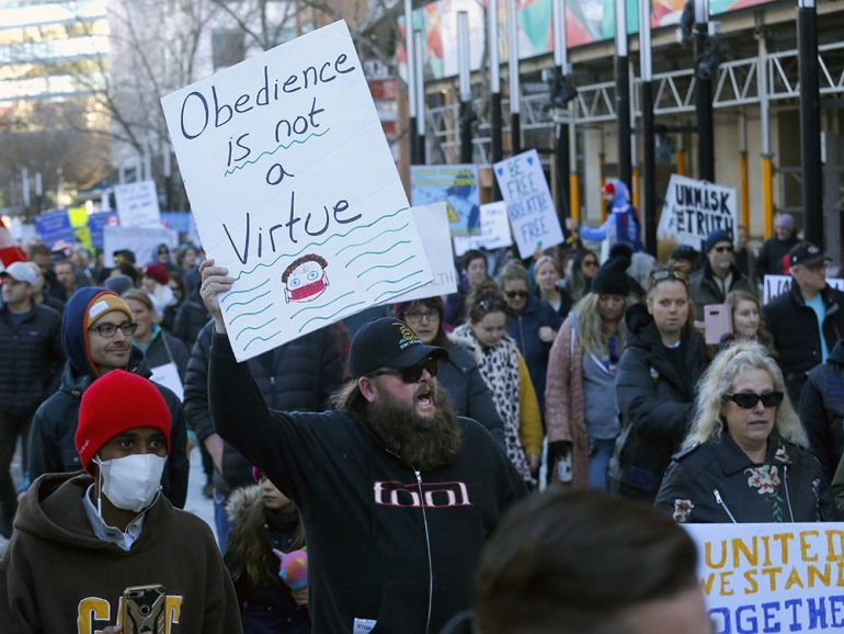 Despite warning from Kenney, anti-maskers vow larger protests
