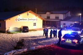 Mitterskrichen: Home wall from land wall area - car against driver crashed in road-in district