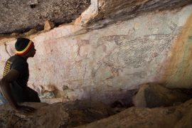 Australia: The oldest, dated rock painting shows a kangaroo