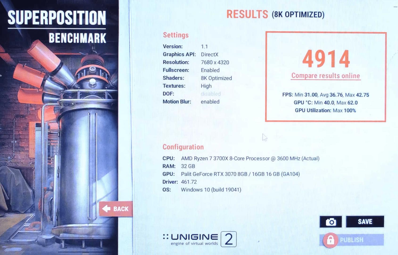 Die GeForce RTX 3070 16 GB in Superposition