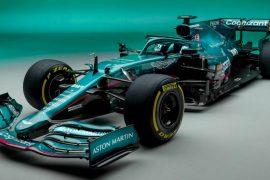 Sebastian Vettel tests his new Aston Martin in Formula 1