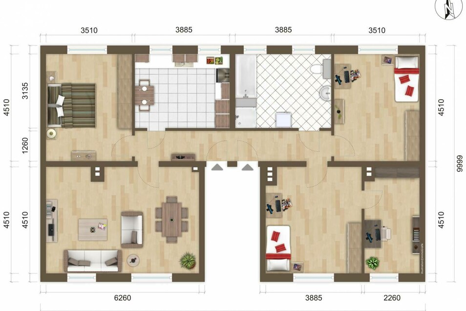 Planned floor of the apartment