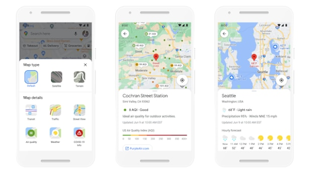 Future weather and air quality information will also be displayed in Google Maps.