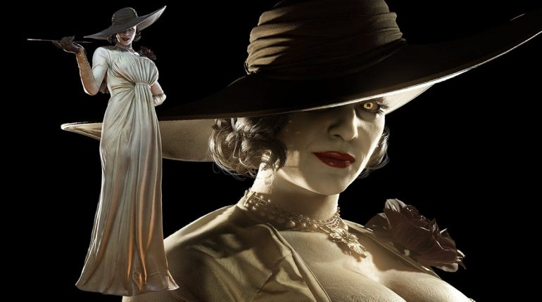 Lady Dimitrasu advertises Resident Evil 8 on a giant bath towel