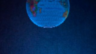 With the new hologram technology, a small bead is transported very quickly by ultrasonic waves.  The ball forms a screen for light projections that can be viewed from different sides.