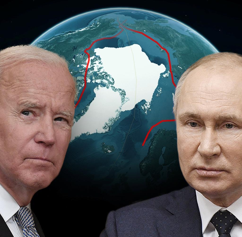 Joe Biden and Vladimir Putin (R.) Battle for the Arctic