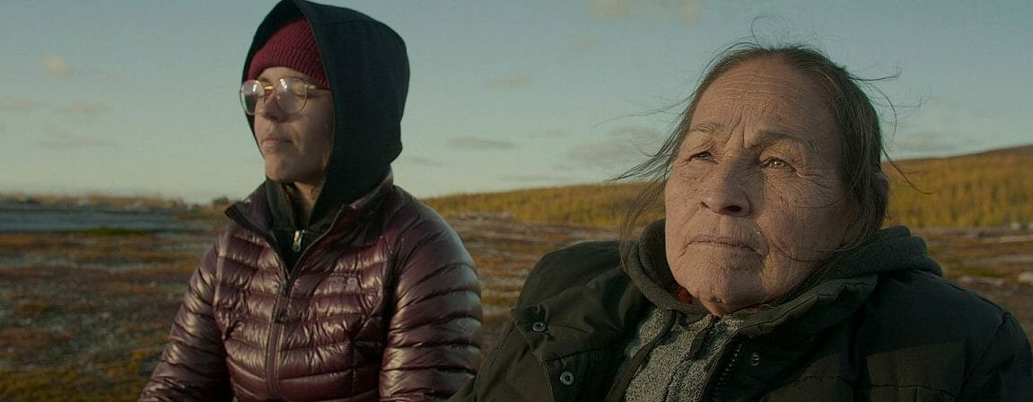 Marie-Andre Gill (left) and Josephine Bacon visit the Tundra, the land of their ancestors, the land of elders, the Papacassic.  (Photo: Maison4tiers)