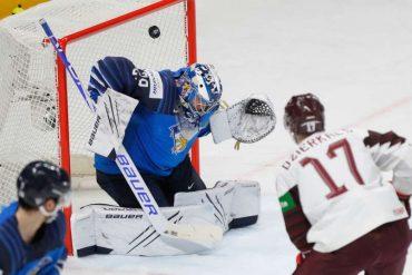 Martins Dzierkals traf zweimal für Lettland im Spiel gegen Weltmeister Finnland. (Foto: dpa/picture alliance/ASSOCIATED PRESS)
