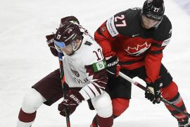 Latvia defeated Canada for the first time.  Sports at home / abroad