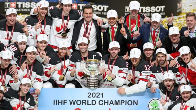 RIGA, Latvia - June 6, 2021: Canadian players posing with their trophies celebrating their 202 win over Finland