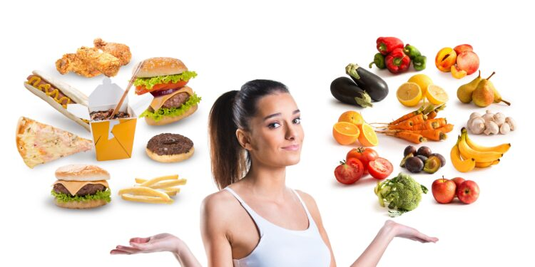 Woman with unhealthy and healthy food floating around her head.