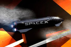 Huge SpaceX rocket booster super heavy rolls onto test stand