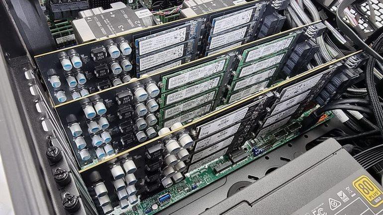 Storage Scaler: PCIe-Adapter für 16 M.2-SSDs bei Kickstarter
